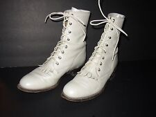 Justin White Leather Kiltie Boots Womens 8 Western Roper Lace Up Ankle