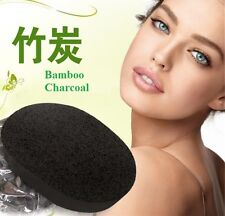 Bamboo Charcoal Facial Puff Sponge Face Deep Cleansing Washing Black Exfoliator
