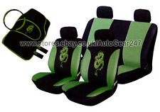 Black Green Dragon Package Car Steering & Seat Covers 4pc Mats, 2 Harness Pads