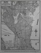 Nice Vintage 1944 World War WWII Atlas City Map Seattle, WA Washington OLD L@@K!