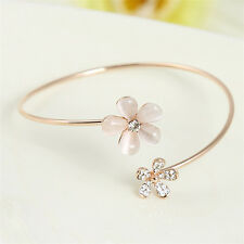 Women Flower Crystal Gold Plated Cuff Bracelet Bangle Charm Jewelry Gift