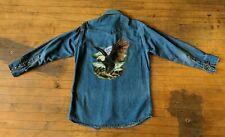 Vintage Carhartt Button Up Long Sleeve Denim Pearl Snap Western Shirt Eagle Back