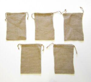 "5 NEW BURLAP JUTE SACKS BAGS  8"" X 12"" WITH DRAWSTRINGS GUNNY FEED TOW GIFT BAG"