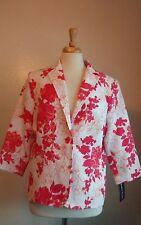 KAREN SCOTT Womwn's White/Pink Floral Blazer Jacket Sz 12