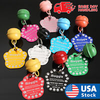 CUSTOM ENGRAVED PERSONALIZED PET TAG ID DOG CAT NAME TAGS  WITH BELL ENGRAVED