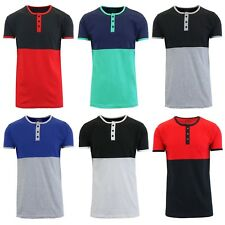 Mens Henley T-Shirt Short Sleeve Tee Lounge Slim Fit Crew Neck S M L XL XXL NEW