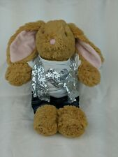"""Build A Bear Brown Easter Bunny Rabbit Plush 15"""" BABW Pink nose with outfit!!"""