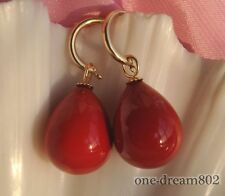 20mm drip red shell pearl dangle earring