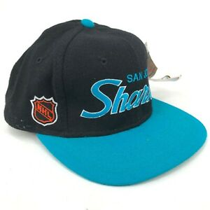 Vintage San Jose Sharks Sports Specialties Fitted Hat Script Black Teal Spellout