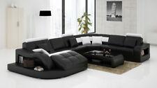 Modern Large LEATHER SOFA Corner Suite Black Modular  Settee U Shape