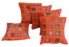 Set-5 Indian Handmade Cotton Hippie Bohemian Cushion Cover Decor 16X16 Zari Work