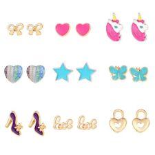 9 Pairs Cute Small Unicorn Butterfly Bowtie Stud Earrings Set For Kids Girls