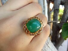 7.1CT NATURAL GREEN OPAL 22K SOLID GOLD HANDMADE RING 6.45GR NO 14K 18K SIZE 7.5