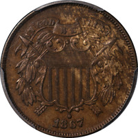 1867 Two (2) Cent Piece Doubled Die Obverse PCGS AU Details Nice Eye Appeal