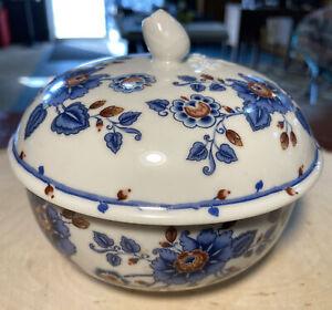 Vintage Estee Lauder Porcelain Floral Powder Jar Bowl Trinket Box Rose Bud 1979