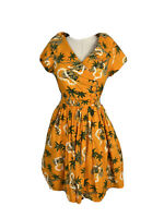 Revival Womens Size 8 Fit And Flare Holiday Print Collared Dress