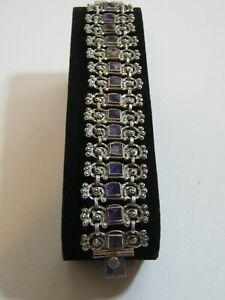 "Matilde Poulat MATL Vintage Mexican Silver Amethyst Bracelet ~  8"" Long ~ Rare!"