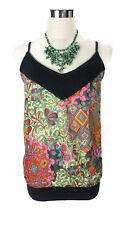 SUPRE Top - Boho Vintage Floral Chiffon Cami Singlet Black Pink Red Green - S/10