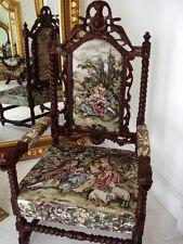 Jagdstuhl - Herrenstuhl GOBELIN BESTICKT - großer Stuhl - wie ein Thron- Sessel
