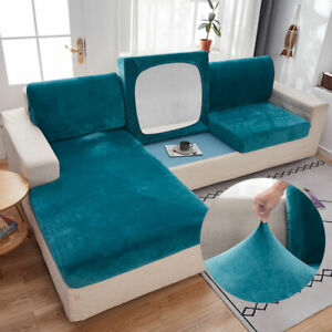 1/2/3 Seater Velvet Stretch Sofa Seat Cover Cushion Protector Slipcover Solid