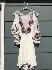 Free People Cora Embroidered Mini Dress *White* Medium nwts