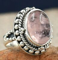 Solid 925 Sterling Silver Jewelry Morganite Gemstone Engagement Gift Ring