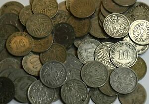 MUST SELL! 1000 GERMAN EMPIRE 10 PFENNIG COINS ALL PRE-1900! EACH LOT HAS 5 DIFF