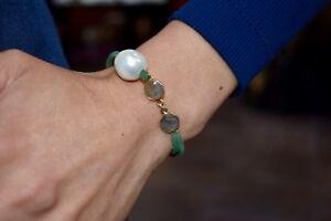 18kt Gold Plated Natural Labradorite & Pearl Green Leather Bracelet - Adjustable