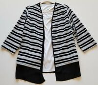 Alfred Dunner Women Long Sleeve Blouse Top 1X Plus Black White Stripes Scoopneck