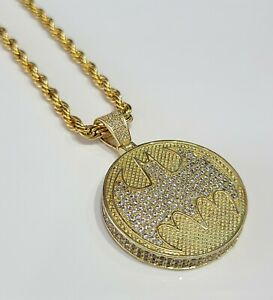 NEW Gold Plated Stainless Steel Batman Medallion Pendant Necklace