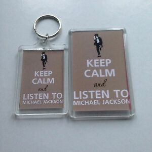 KEEP CALM AND LISTEN TO MICHAEL JACKSON Keyring or Fridge Magnet = ideal gift