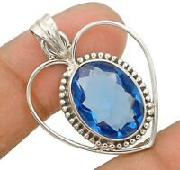 12CT Blue Sapphire 925 Solid Sterling Silver Pendant Jewelry CD33-8