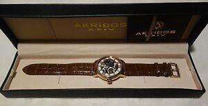 Akribos XXIV Mens AK540RG Mechanical Skeleton Leather Strap Watch