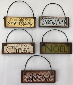 +Christmas Wooden Plaque Christ Rustic Wall Decoration Winter Country J