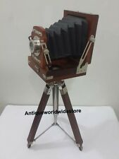 Vintage Designer Nautical Wooden Table Camera With Brown Tripod Stand