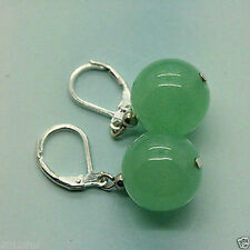 Natural Beautiful Tibet Silver 12mm Green jade gemstone Earrings