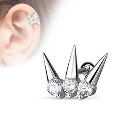 "16g 1/4"" Triple Spike Clear CZ Cartilage Tragus Ear Earring Barbell"