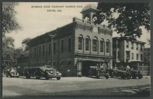 Dover DE: c.1930s Postcard ROBBINS HOSE COMPANY NUMBER NO. 1 ONE Fire House