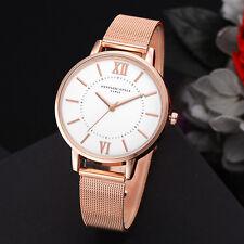 Armbanduhr Rosegold Uhr Extravagant Mode Fashion Weiß Quarz Mesh Luxus