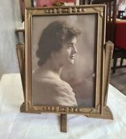 1915 Ornate Wooden Swinging Picture Frame with Stand on Bottom and Photo