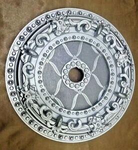"Lighting Ceiling Medallion Decor Silver 12"" In Round Shape Chandelier Medallion"