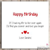 Personalised Birthday Card Husband Wife Boyfriend Girlfriend Love Partner Card