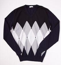NWT $550 BALLANTYNE Black-Navy-Gray Argyle Cotton Sweater Trim L/52 V-Neck