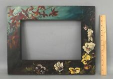 Antique Aesthetic Folk Art Painted Pansy Flowers American Painting Mirror Frame
