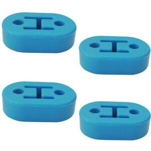 4x Universal Car Polyurethane Rubber 12mm 2 Hole Exhaust Muffler Hanger Blue