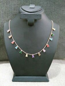 925 Silver Turkish Handmade Jewelry Multi Color & Alexandrite Lady Necklace