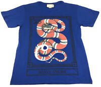 """Gucci King Snake Men's Blue T-Shirt Size XS """"Soave Amore"""" Italy Discontinued"""