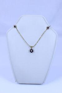 Gorgeous 14K Blue Sapphire & Accent Diamond Flower Necklace & Earring Set- 13273