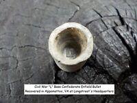 Rare Vintage Antique Civil War Confederate Enfield l Base Bullet Appomattox VA