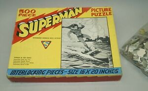 RARE ORIGINAL 1940 SUPERMAN 500 PIECE PICTURE PUZZLE IN ORIGINAL BOX - SAALFIELD